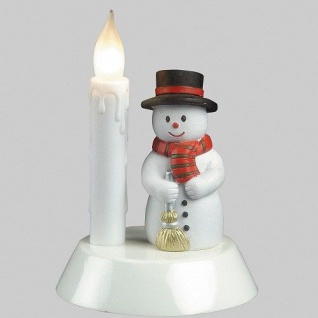 Tischdekoration Leuchter Schneemann mit Kerze 17x14cm 284-08