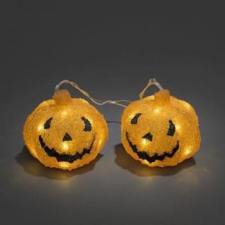 Halloween Kürbis / Pumpkin 2er Set 15cm Batterie Timer außen Konstsmide 6137-103