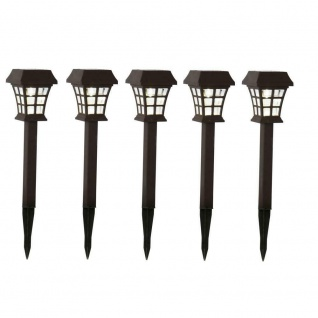 Kunststoff LED Solarleuchte Solarlampe Grableuchte braun warmweiß 479-53-5er