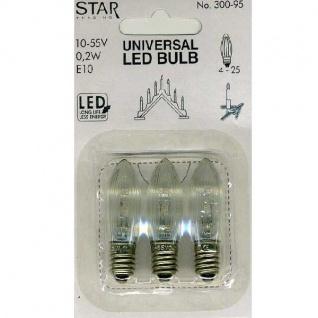 Universal LED Glühbirne E10 3er klares Glas 10-55V 0, 2W 300-95