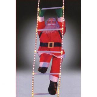 Weihnachtsmann auf LED Lichtschlauch Leiter beleuchtet außen FHS 04422