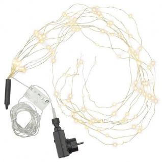 LED Lichterbündel Silberdraht 100er warmweiß Netzbetrieb Timer aussen BA11011