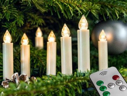 LED Weihnachtsbaumbeleuchtung Kabellos Dimmer Timer Flacker 10er warmweiß 25755