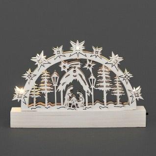 LED Holzsilhouette Leuchter Krippe weiß 23x15cm Konstsmide innen 2842-210 xmas