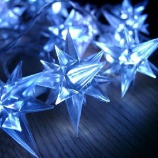 LED Sternen-Lichterkette blau 40er 3, 9m Transparentes Kabel BA11422