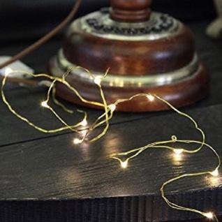 LED-Draht Lichterkette Messing Dew Drops 12er warmweiß Batterie 728-12