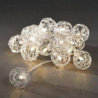 LED Dekolichterkette 16er ALU Drahtkugeln silber warmweiß innen 3176-103 xmas