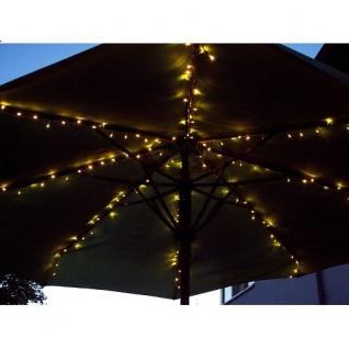 LED Sonnenschirm Lichterkette 160er warmweiß Kabel schwarz außen FHS 23874