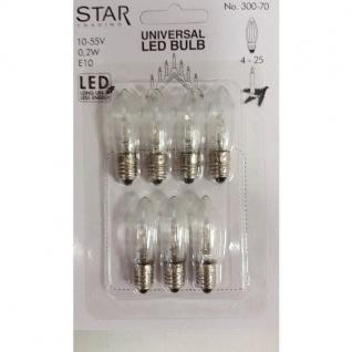 Universal LED Glühbirne E10 7er klares Glas 10-55V 0, 2W 300-70