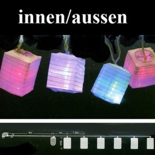 LED Laternen / Lampion 6er Lichterkette bunt 8 Funtionen JFLA22