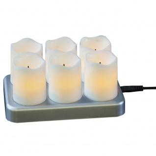 LED Kerzen 6er flackernd inkl. Ladestation innen Kunststoff flammenlos 062-19