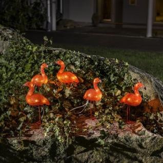 LED Acryl Flamingos 5er-Set 5x8 Dioden bernsteinfarben außen 12, 5cm 6267-803