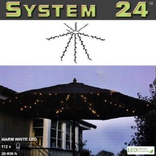 System 24 LED Sonnenschirm Lichterkette 112er warmweiß extra 491-70 außen