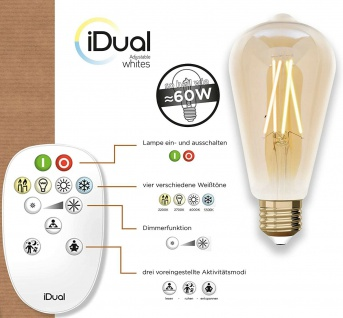 iDual LED Leuchtmittel Filament E27 ST64 amber dimmbar 806lm 9W inkl. FB Vintage