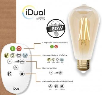 iDual LED Leuchtmittel Filament E27 ST64 amber dimmbar 806lm 9W inkl. FB Vintage