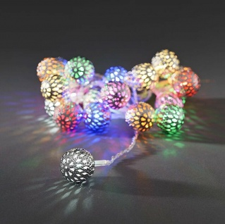 LED Dekolichterkette 21er 1, 2m Silberkugel bunt Konstsmide 3177-503