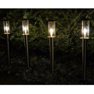LED Edelstahl Glas Gartenleuchte warmweiß 4er Set außen Wegeleuchte FHS 25663