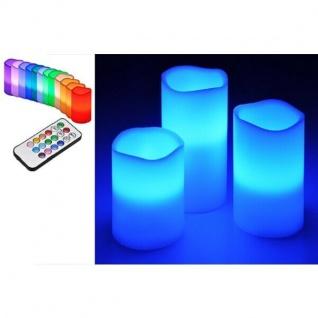 3er LED Echtwachs-Kerzen-Set weiß Fernbedienung Farbwechsel HI 55038 xmas