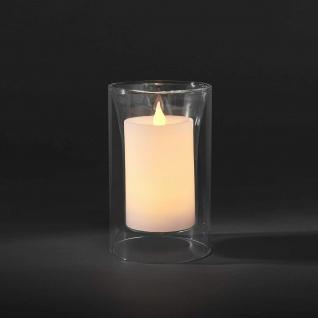 LED Echtwachskerzen mit Glasvase IP20 11x11x18cm 2xAA weiß Konstsmide 1970-000