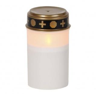 LED Grableuchte Grablicht Grabkerze Serene 12x7cm weiß 6/18h Timer 064-80