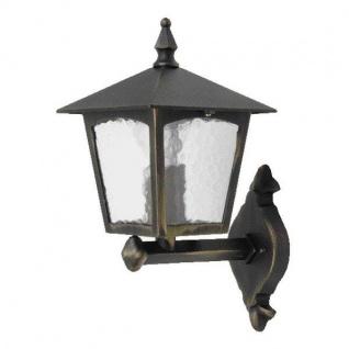 Alu Außenwandleuchte LONDON schwarz / gold außen 1581 BG Eco-Light