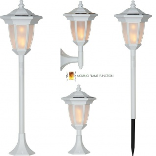 LED Solar Sockelleuchte Wegeleuchte Wandleuchte Moving Flame 4in1 weiß 480-08