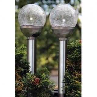 LED Solarleuchte 2er Set Glaskugel Edelstahl Solarlampe 21580