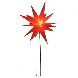 LED-Gartenstecker Kunststoffstern rot 58cm 6/16h Timer h:90cm IP44 außen 34047