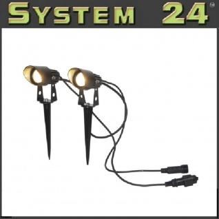 """"""" System 24"""" LED Duospot-extra 2er Set schwarz / warmweiß 3000K außen 491-62"""