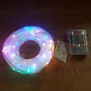 LED Mini-Lichtschlauch 5m 5mm bunt Timer Batterie Fernbedienung außen BA11262
