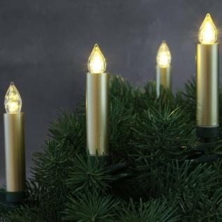 LED Weihnachtsbaumbeleuchtung Kabellos Dimmer Timer Flacker 10er gold 30056