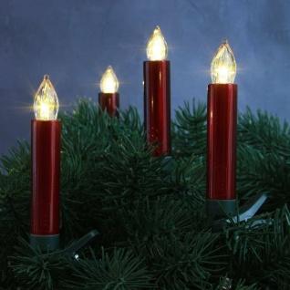 LED Weihnachtsbaumbeleuchtung Kabellos Dimmer Timer Flacker 10er rot 30032