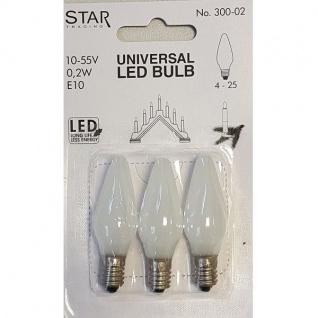 Universal LED Glühbirne E10 3er Glas satiniert 0, 2W 10-55V 0, 2W 300-02