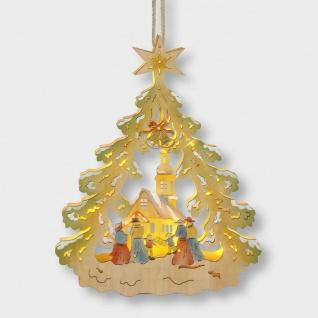 LED Holzhänger Weihnachtsbaum mit Kirche Batteriebetrieb 35x27, 5cm innen 004-43