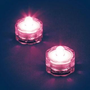 LED-Teelicht 2er Set pink / rosa Wasserdicht Batterie außen innen 06836
