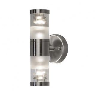 Edelstahl 304 Halogenspot BOLZANO klares Glas Wandleuchte up / down 7595-000