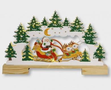 LED Holzleuchter Weihnachtsmann im Schlitten Batterie 28x45cm innen 004-44 xmas