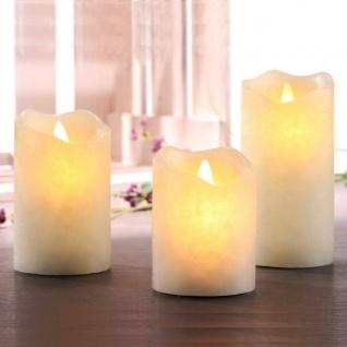 3er LED Echtwachs-Kerzen-Set Flammenlos mit Timer 7, 5x10/12/15cm HI 55065 xmas
