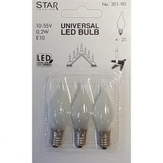 Universal LED Glühbirne E10 3er satiniertes Glas 10-55V 0, 2W 301-90 - Vorschau