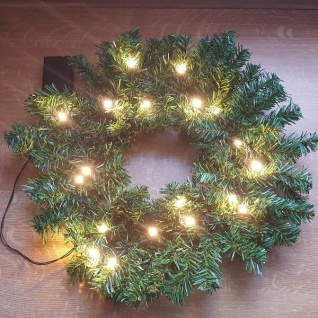 20er LED-Weihnachtskranz warmweiß 40cm Batteriebetrieb innen XI11890 xmas