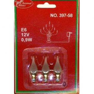 Glühbirne Windstoßkerze E6 3er satiniertes Glas 12V 0, 9W 397-58