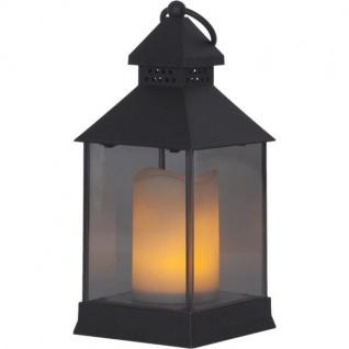 LED Moving Flame Laterne schwarz Kunstoff 6/18h Timer 062-92