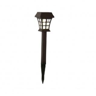 Kunststoff LED Solarleuchte Solarlampe Grableuchte braun warmweiß 479-53-1er