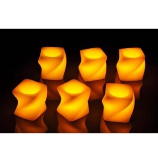 6er LED Echtwachs-Kerzen-Set weiß eckig-gedreht gelbe LED HI 55046