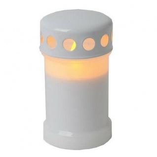 LED Windlicht Grableuchte Grablicht Grabkerze 14cm weiss 067-30