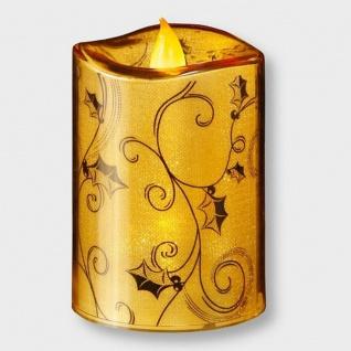 Flammenlose LED-Kerze Acryl gold Batteriebetrieb innen 002-38