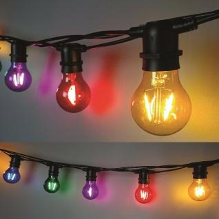 Party Filament Lichterkette 10er Birne bunt 5m verlängerbar FHS 33385