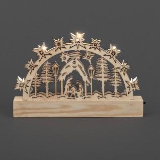LED Holzsilhouette Leuchter Krippe natur 23x15cm Konstsmide innen 2842-100 xmas