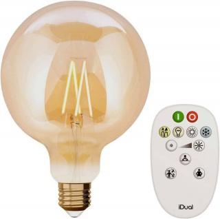 iDual LED Leuchtmittel Filament E27 G125 amber dimmbar 806lm 9W inkl. FB Vintage