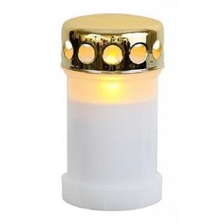 LED Grableuchte Grablicht Grablaterne Grabkerze 14cm weiß / gold 067-57